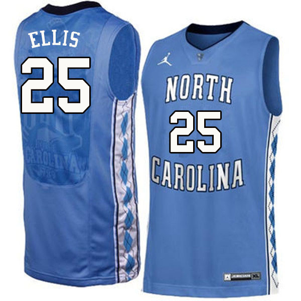Men #25 Caleb Ellis North Carolina Tar Heels College Basketball Jerseys Sale-Blue