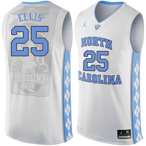 Men #25 Caleb Ellis North Carolina Tar Heels College Basketball Jerseys Sale-White