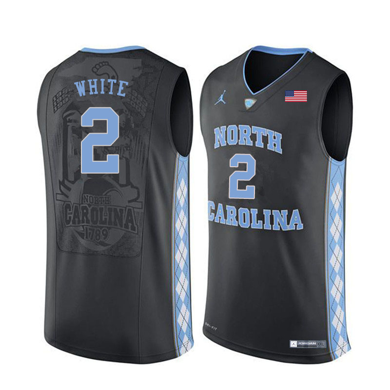 Men #2 Coby White North Carolina Tar Heels College Basketball Jerseys Sale-Black