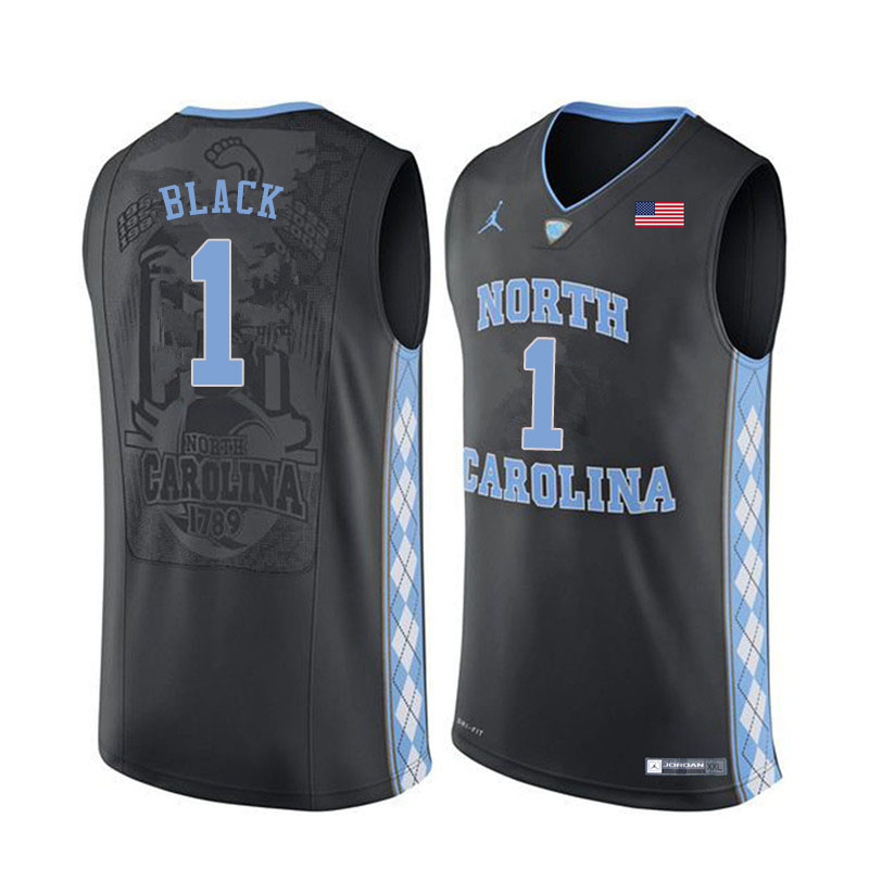 Men #1 Rechon Black North Carolina Tar Heels College Basketball Jerseys Sale-Black