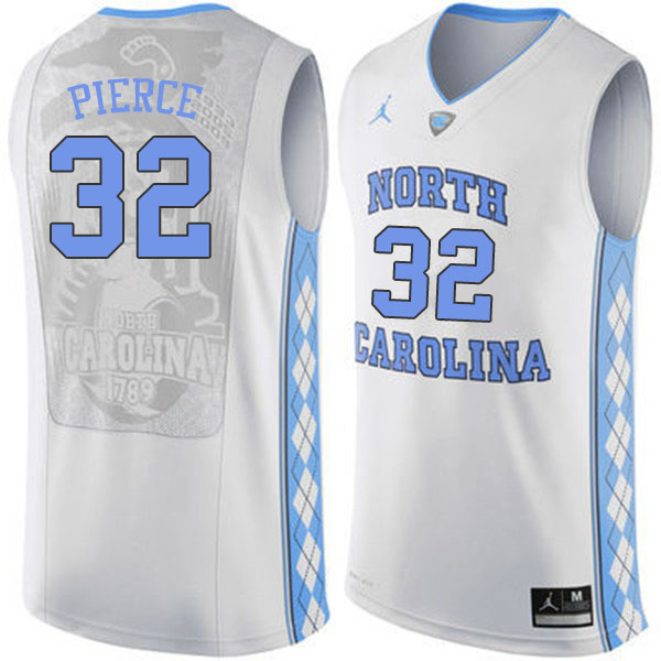 Men #32 Justin Pierce North Carolina Tar Heels College Basketball Jerseys Sale-White