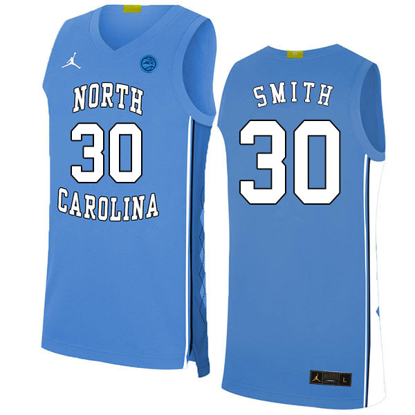 2020 Men #30 K.J. Smith North Carolina Tar Heels College Basketball Jerseys Sale-Blue