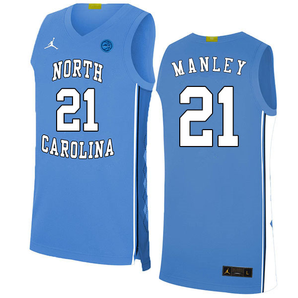 2020 Men #21 Sterling Manley North Carolina Tar Heels College Basketball Jerseys Sale-Blue