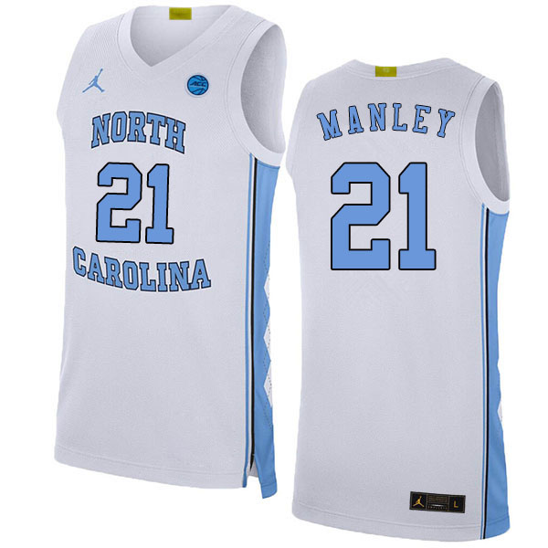 2020 Men #21 Sterling Manley North Carolina Tar Heels College Basketball Jerseys Sale-White