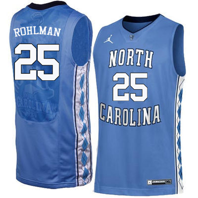 Men North Carolina Tar Heels #25 Aaron Rohlman College Basketball Jerseys Sale-Blue