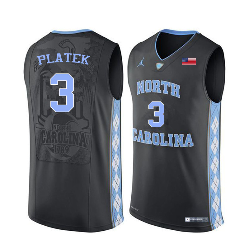 Men #3 Andrew Platek North Carolina Tar Heels College Basketball Jerseys Sale-Black