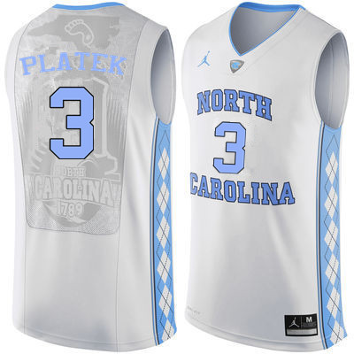 Men #3 Andrew Platek North Carolina Tar Heels College Basketball Jerseys Sale-White