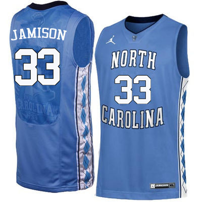 Men North Carolina Tar Heels #33 Antawn Jamison College Basketball Jerseys Sale-Blue
