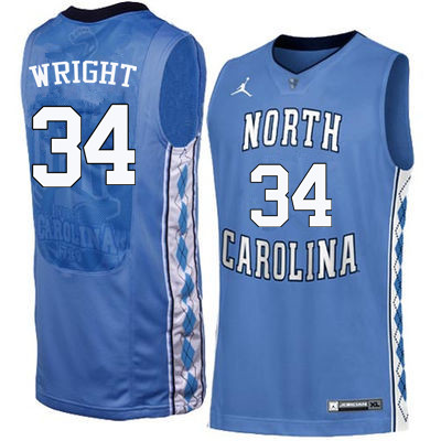 Men North Carolina Tar Heels #34 Brandan Wright College Basketball Jerseys Sale-Blue