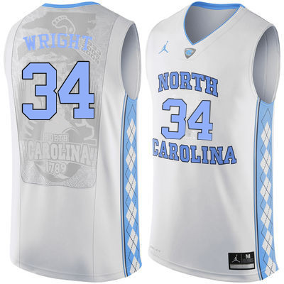 Men North Carolina Tar Heels #34 Brandan Wright College Basketball Jerseys Sale-White