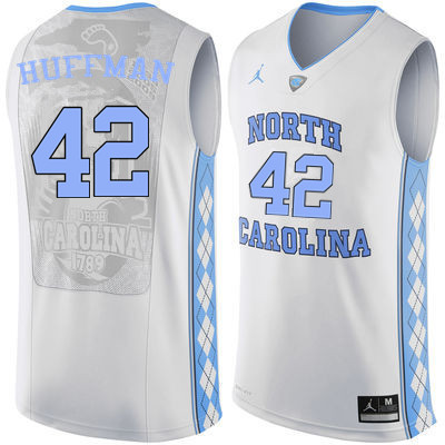 Men #42 Brandon Huffman North Carolina Tar Heels College Basketball Jerseys Sale-White