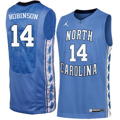 Men North Carolina Tar Heels #14 Brandon Robinson College Basketball Jerseys Sale-Blue