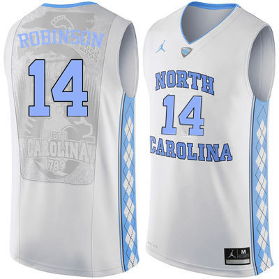 Men North Carolina Tar Heels #14 Brandon Robinson College Basketball Jerseys Sale-White
