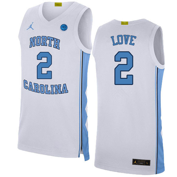 Men #2 Caleb Love North Carolina Tar Heels College Basketball Jerseys Sale-White