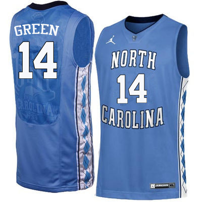 Men North Carolina Tar Heels #14 Danny Green College Basketball Jerseys Sale-Blue