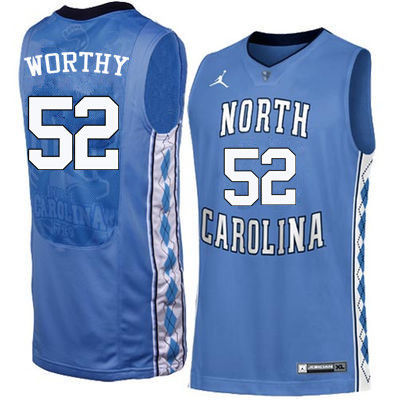 Men North Carolina Tar Heels #52 James Worthy College Basketball Jerseys Sale-Blue