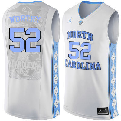Men North Carolina Tar Heels #52 James Worthy College Basketball Jerseys Sale-White