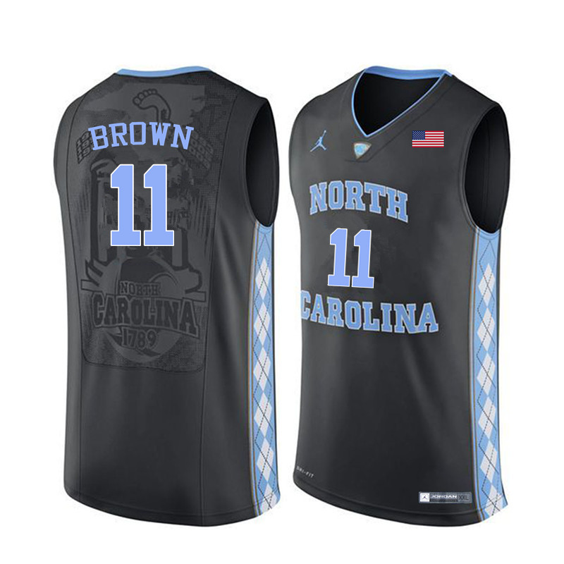 Men North Carolina Tar Heels #11 Larry Brown College Basketball Jerseys Sale-Black
