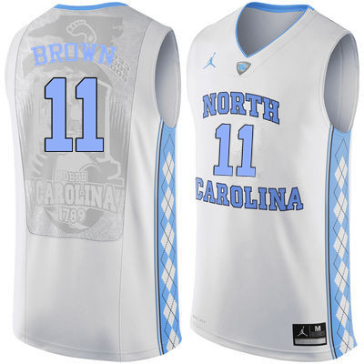 Men North Carolina Tar Heels #11 Larry Brown College Basketball Jerseys Sale-White