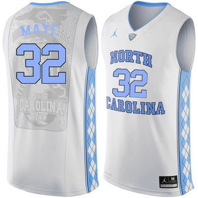 Men North Carolina Tar Heels #32 Luke Maye College Basketball Jerseys Sale-White