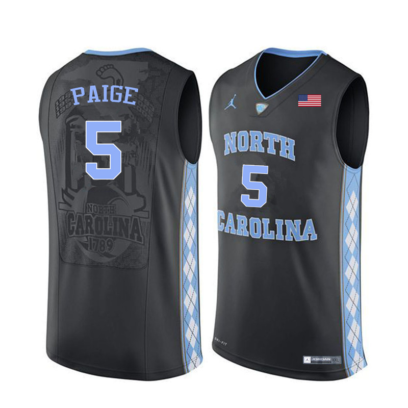 Men North Carolina Tar Heels #5 Marcus Paige College Basketball Jerseys Sale-Black