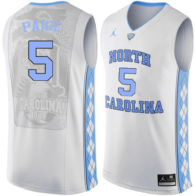 Men North Carolina Tar Heels #5 Marcus Paige College Basketball Jerseys Sale-White