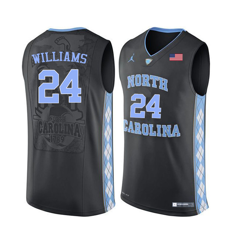 Men North Carolina Tar Heels #24 Marvin Williams College Basketball Jerseys Sale-Black
