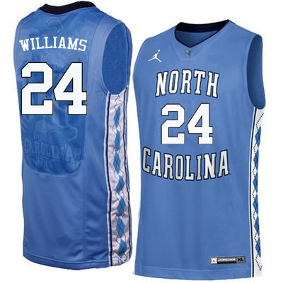 Men North Carolina Tar Heels #24 Marvin Williams College Basketball Jerseys Sale-Blue