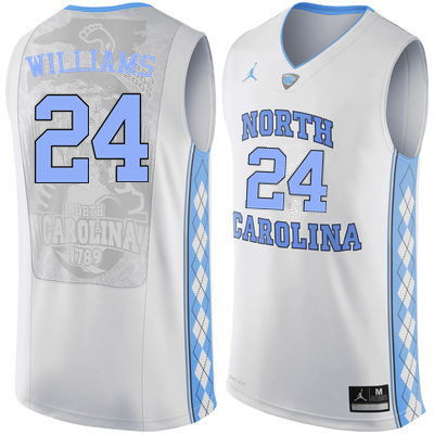 Men North Carolina Tar Heels #24 Marvin Williams College Basketball Jerseys Sale-White