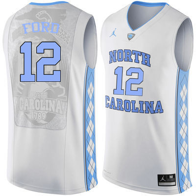 Men North Carolina Tar Heels #12 Phil Ford College Basketball Jerseys Sale-White