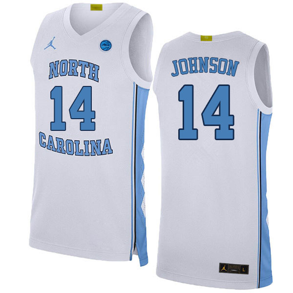 Men #14 Puff Johnson North Carolina Tar Heels College Basketball Jerseys Sale-White