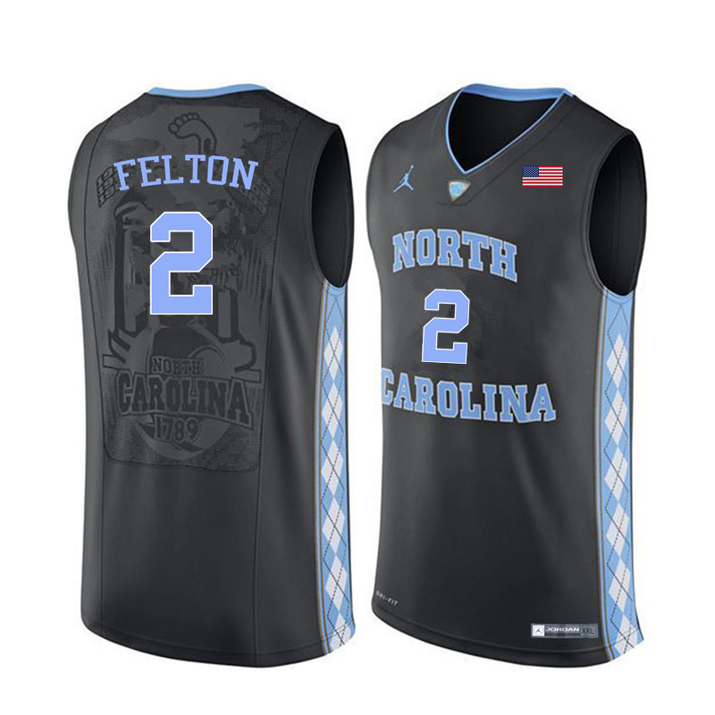 Men North Carolina Tar Heels #2 Raymond Felton College Basketball Jerseys Sale-Black