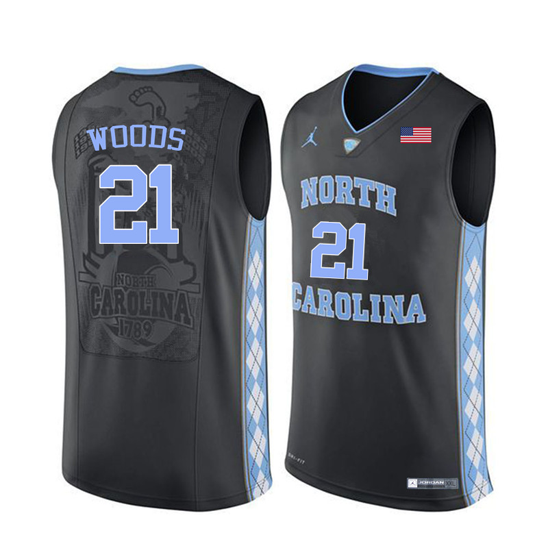 Men North Carolina Tar Heels #21 Seventh Woods College Basketball Jerseys Sale-Black