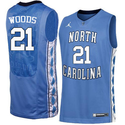 Men North Carolina Tar Heels #21 Seventh Woods College Basketball Jerseys Sale-Blue