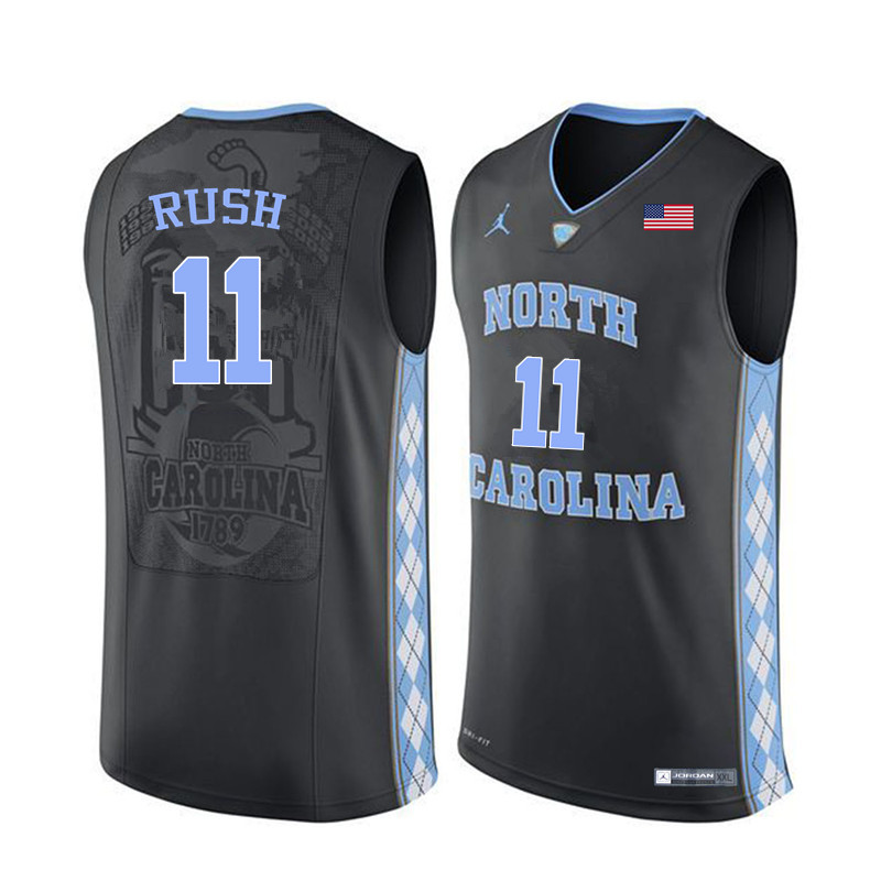 Men North Carolina Tar Heels #11 Shea Rush College Basketball Jerseys Sale-Black