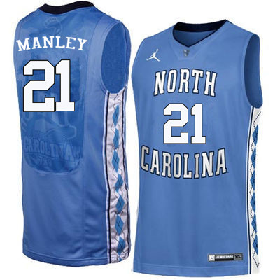 Men #21 Sterling Manley North Carolina Tar Heels College Basketball Jerseys Sale-Blue