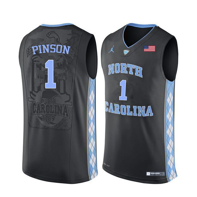 Men North Carolina Tar Heels #1 Theo Pinson College Basketball Jerseys Sale-Black
