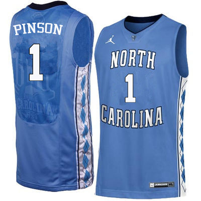 Men North Carolina Tar Heels #1 Theo Pinson College Basketball Jerseys Sale-Blue