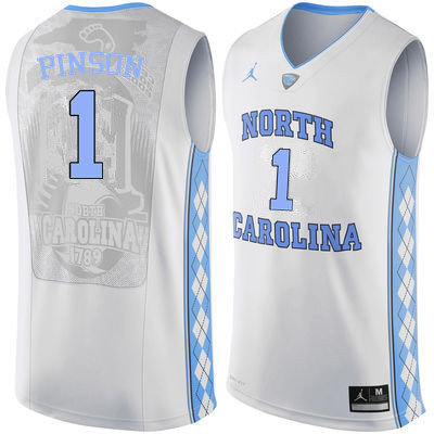 Men North Carolina Tar Heels #1 Theo Pinson College Basketball Jerseys Sale-White