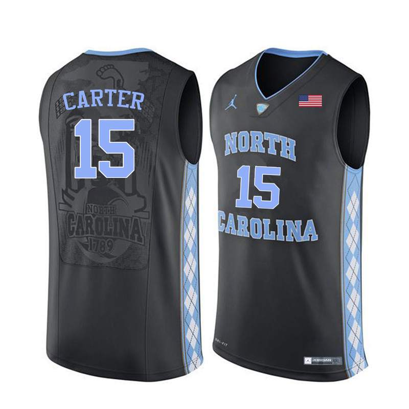 Men North Carolina Tar Heels #15 Vince Carter College Basketball Jerseys Sale-Black