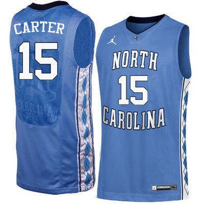 Men North Carolina Tar Heels #15 Vince Carter College Basketball Jerseys Sale-Blue