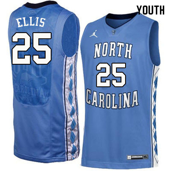 Youth #25 Caleb Ellis North Carolina Tar Heels College Basketball Jerseys Sale-Blue