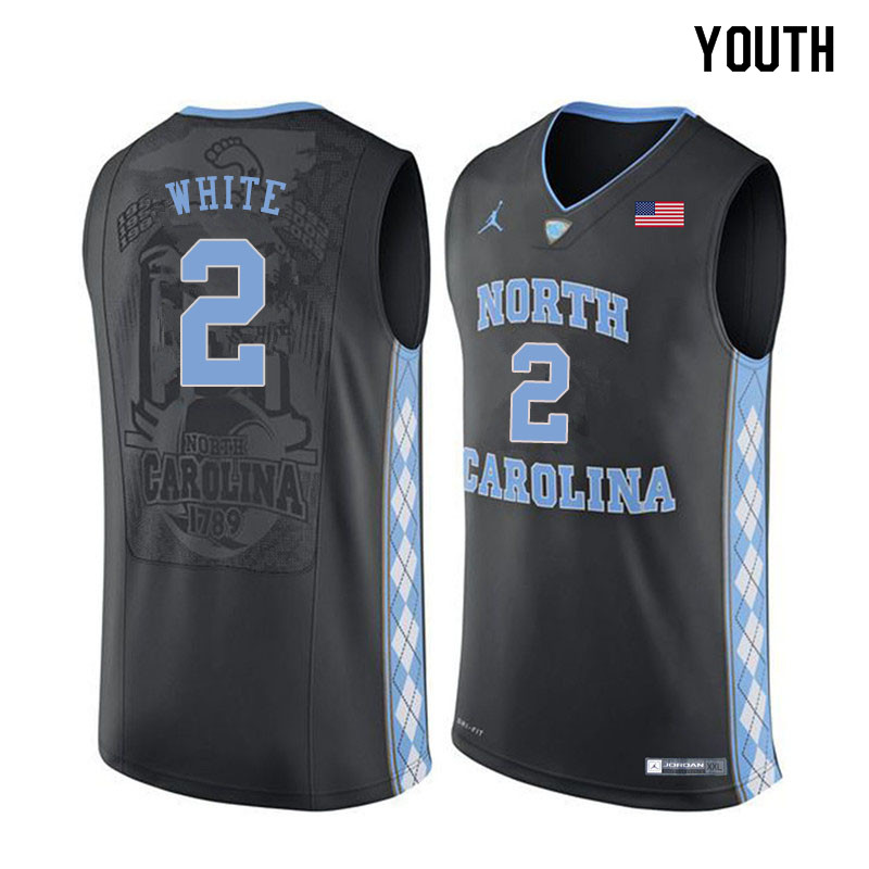 Youth #2 Coby White North Carolina Tar Heels College Basketball Jerseys Sale-Black