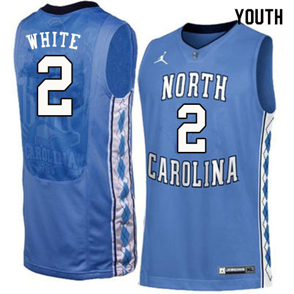 Youth #2 Coby White North Carolina Tar Heels College Basketball Jerseys Sale-Blue