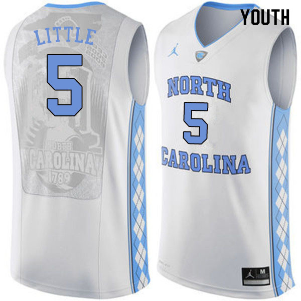Youth #5 Nassir Little North Carolina Tar Heels College Basketball Jerseys Sale-White
