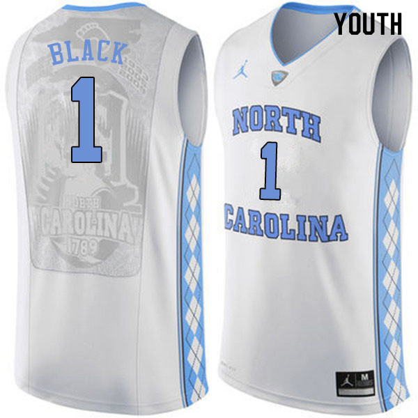 Youth #1 Rechon Black North Carolina Tar Heels College Basketball Jerseys Sale-White