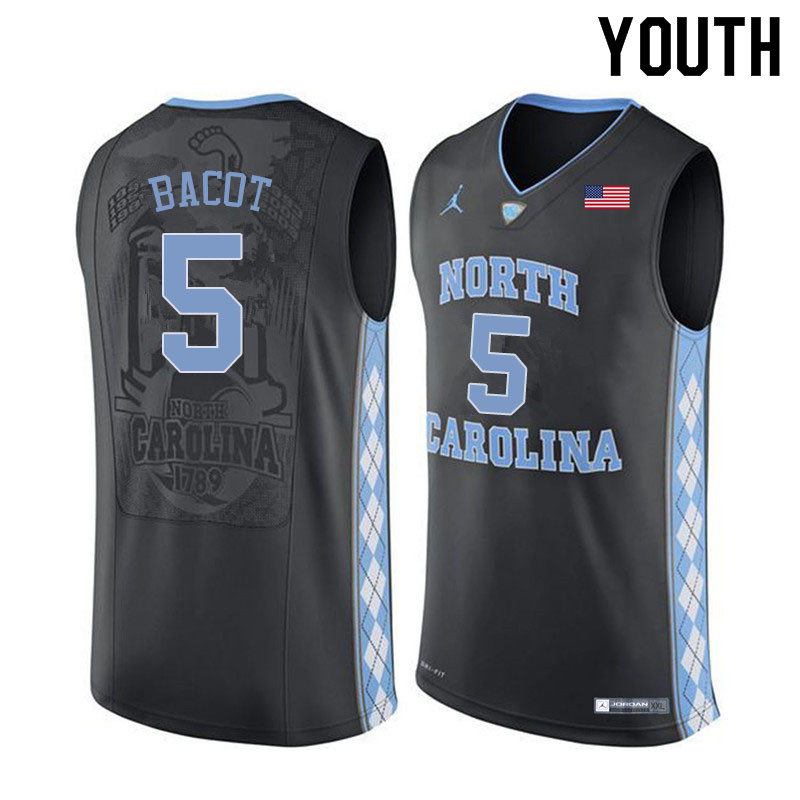 Youth #5 Armando Bacot North Carolina Tar Heels College Basketball Jerseys Sale-Black