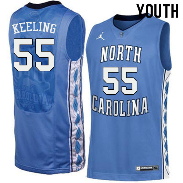 Youth #55 Christian Keeling North Carolina Tar Heels College Basketball Jerseys Sale-Blue