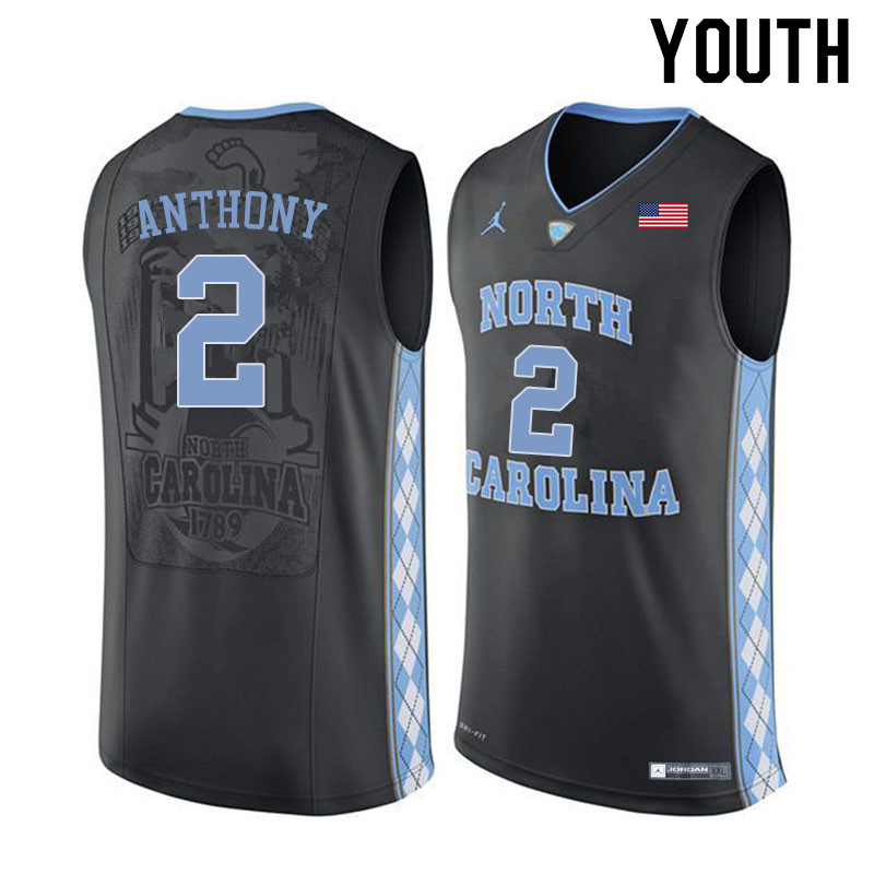 Youth #2 Cole Anthony North Carolina Tar Heels College Basketball Jerseys Sale-Black