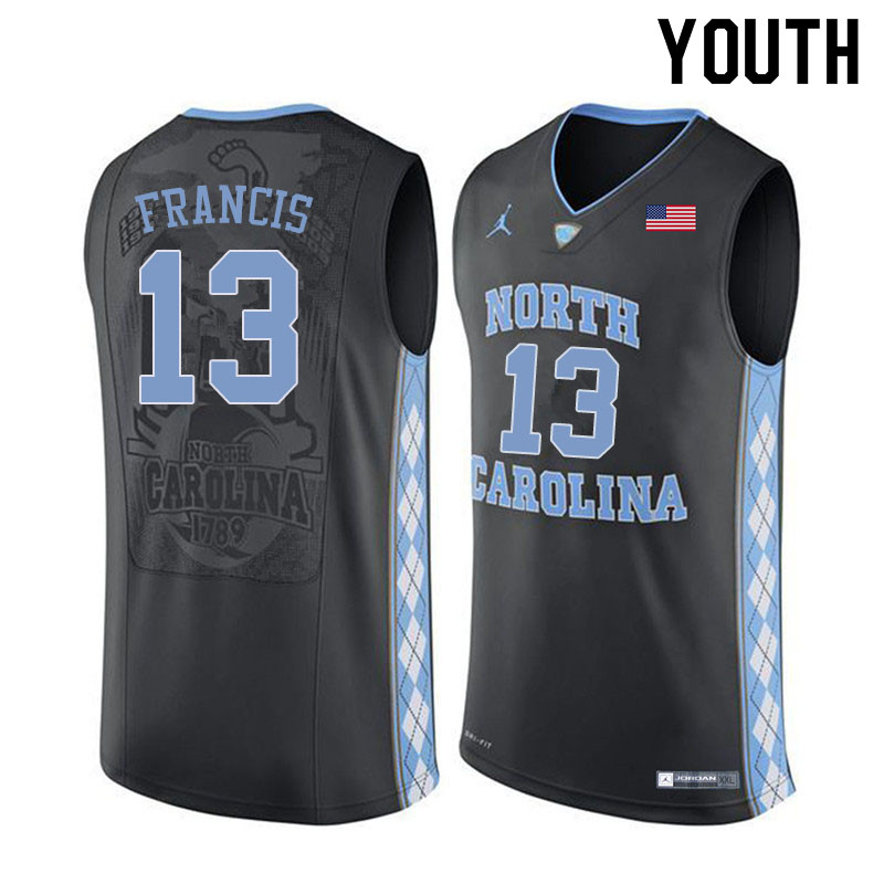 Youth #13 Jeremiah Francis North Carolina Tar Heels College Basketball Jerseys Sale-Black